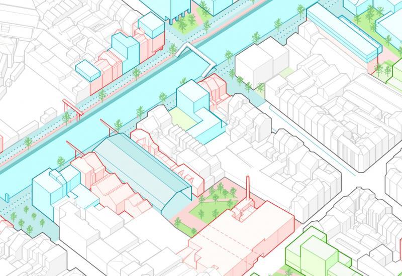 Voorstel om de openbare en de groene ruimten rond het kanaal en de Heyvaertstraat herin te richten.
