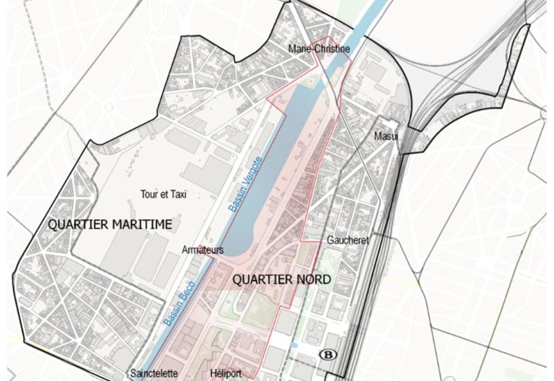 Extract van Gewestelijk Bestemmingsplan (GBP), noordelijk buurt - maritiem buurt