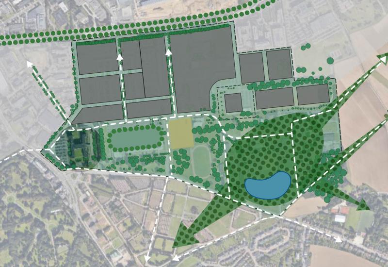 Landschapspark 'Defensie-Zuid' (indicatief): min. 20 ha bos, bestaande bomen bewaren en delen huidig HK recuperen (voor actieve mobiliteit en park-uitrustingen)