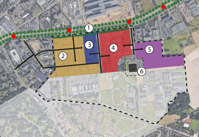 Deelzones stedelijke ontwikkeling: 1.Park Lane, 2.Stadswijk, 3.Europese school, 4.HK Defensie, 5.Economische zone, 6.Partnership for peace